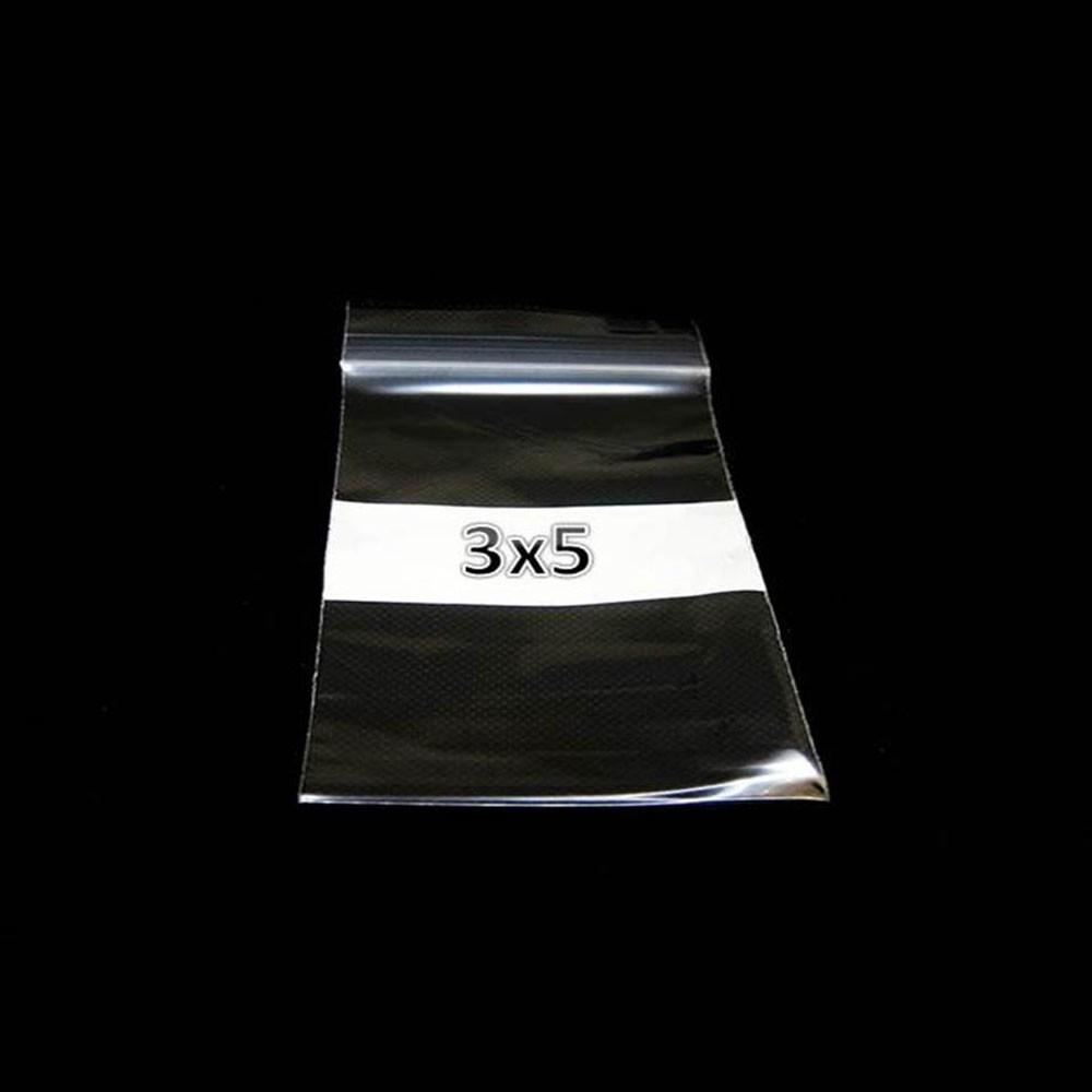 Plastic ZipLock Bag 3x5 W/WHT