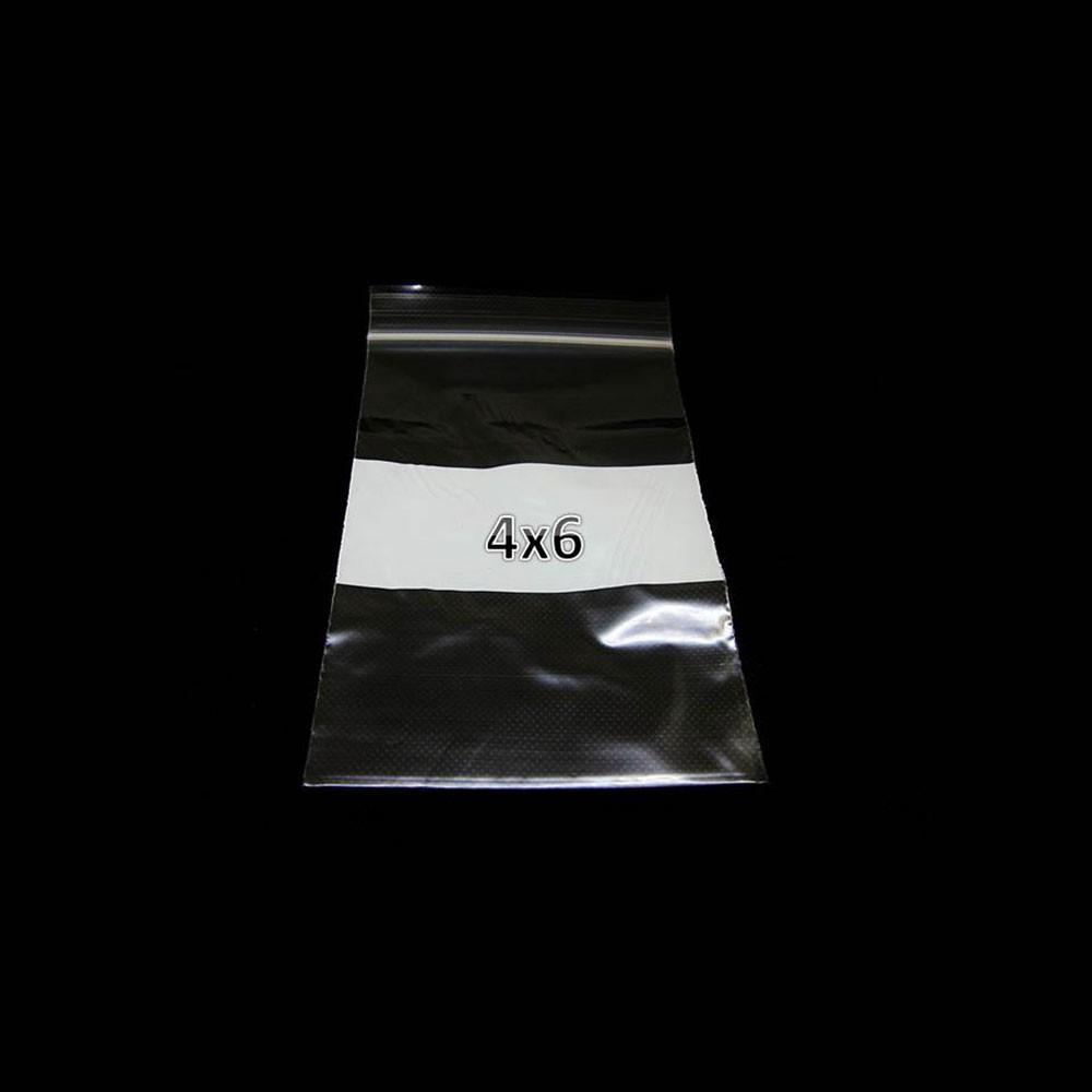 Plastic ZipLock Bag 4X6 W/WHT