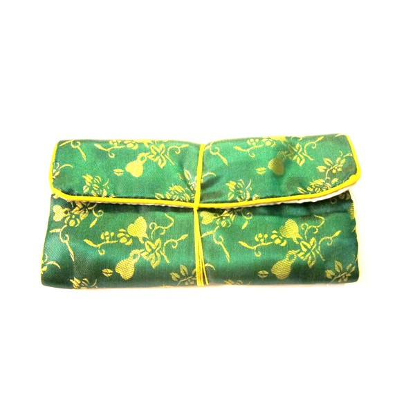 Chinese Silk Pouch Roll, Green