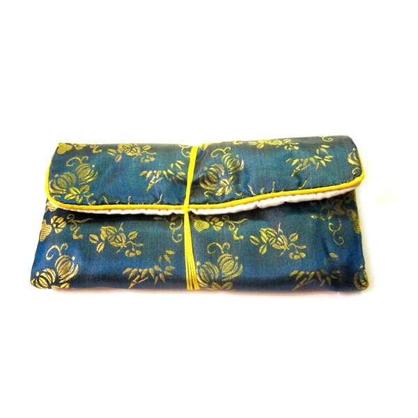 Chinese Silk Pouch Roll, Blue
