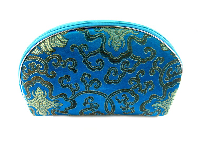 Chinese Silk Zipper Pouches/Blue
