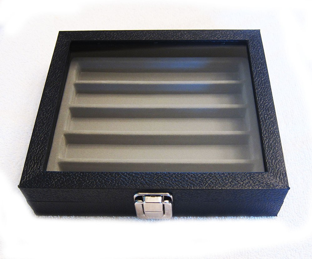Glass Tray with Flocked 5 Section Insert