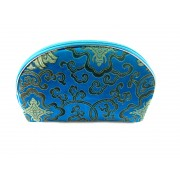 Chinese Silk Zipper Pouches/Blue