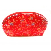 Chinese Silk Zipper Pouches/Red