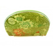 Chinese Silk Zipper Pouches/Green